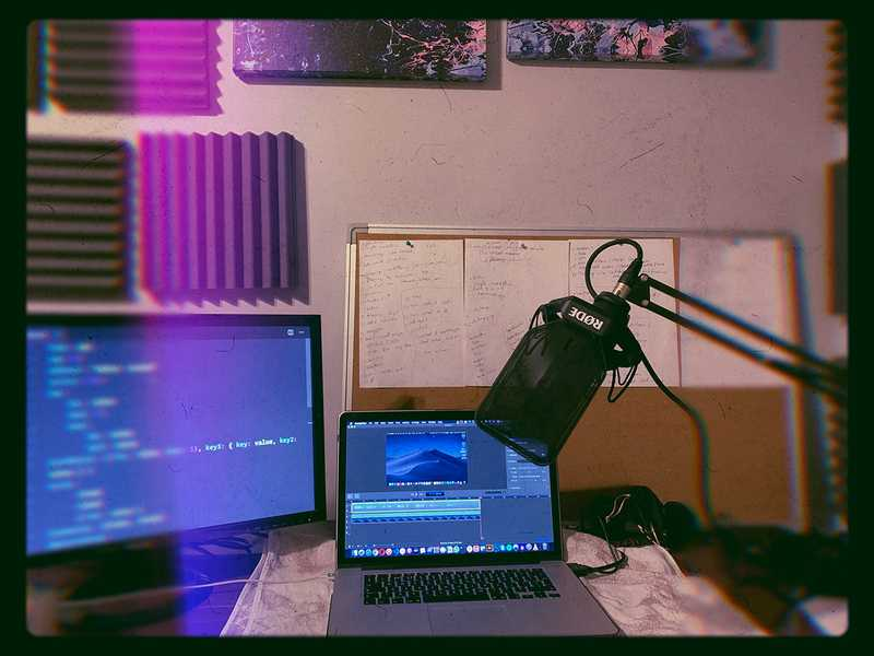 A photo I took during recording one of my courses showing my recording set-up